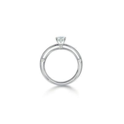 Anello di fidanzamento in oro bianco 0,23 carati, colore G, purezza VVS