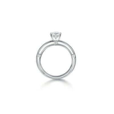 Anello di fidanzamento in oro bianco 0,28 carati, colore H, purezza VS