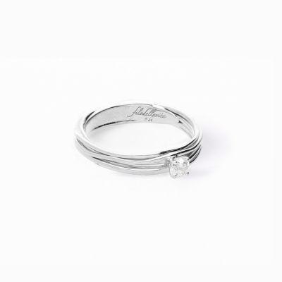 Filodellavita Solitario 7 fili in Oro Bianco con Diamante