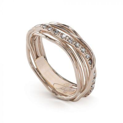 Anello Filo della Vita Oro Rosa Diamanti