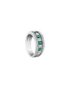 Anello in oro bianco con diamanti e smeraldi