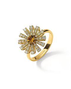 Anello in oro giallo con diamanti e quarzo citrino