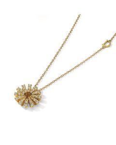 Collana in oro giallo con diamanti e quarzo citrino