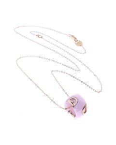 Collana in ceramica rosa confetto e oro rosa con diamante