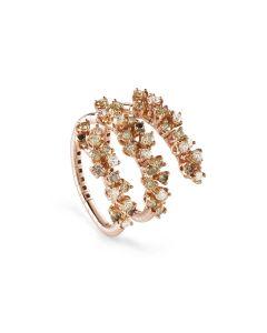 Anello in oro rosa con diamanti bianchi e diamanti brown