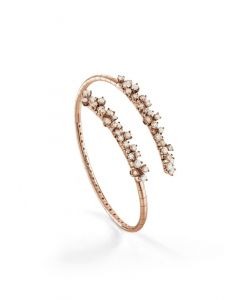 Bracciale in oro rosa con diamanti bianchi e diamanti brown
