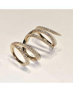 Anello Snodato in Oro Rosa e Diamanti