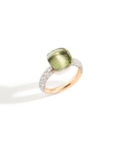 Anello Nudo Classic Prasiolite e Diamanti