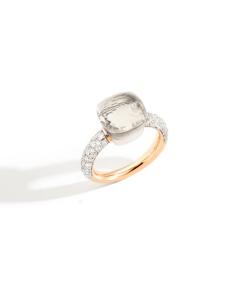 Anello Nudo Classic Topazio Bianco e Diamanti
