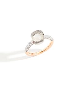 Anello Nudo Petit Topazio Bianco e Diamanti